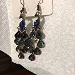 2296965311328f Gleader Jewelry | Vintage Retro Blue The Prancing Peacock Earrings ...